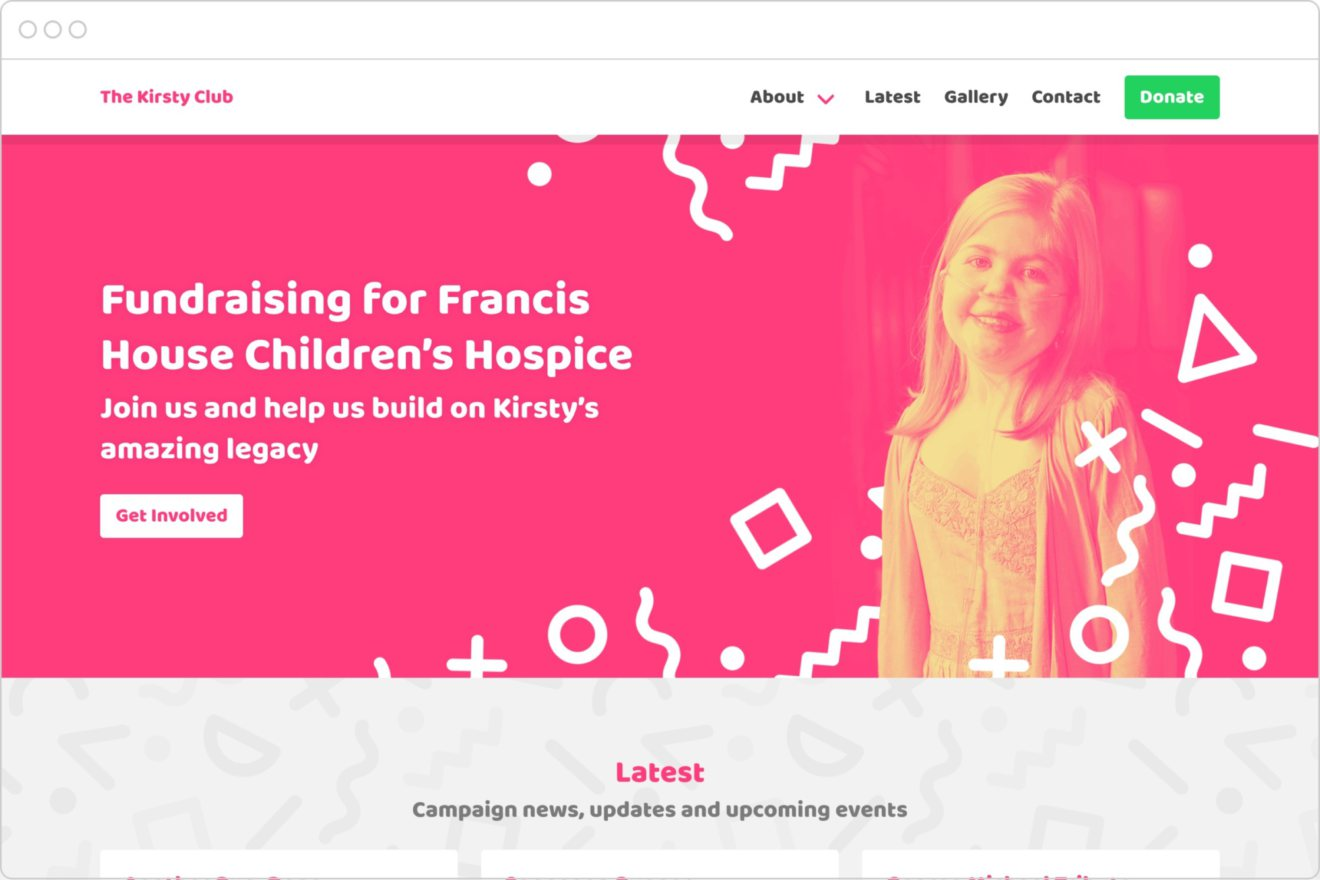 The kirsty club homepage